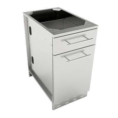 Designer Series 304 Stainless Steel 18 in. x 34.5 in. x 28.25 in. Propane/Trash Drawer Combo Cabinet with Top Drawer