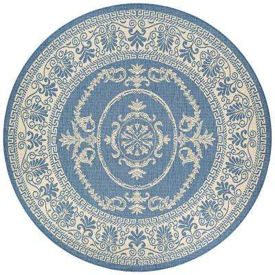 Recife Antique Medallion Champagne-Blue 9 ft. x 9 ft. Round Indoor/Outdoor Area Rug