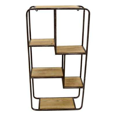 16 in. x 6 in. Brown Wood and Metal Wall Shelf