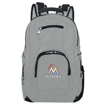 MLB Miami Marlins 19 in. Gray Laptop Backpack