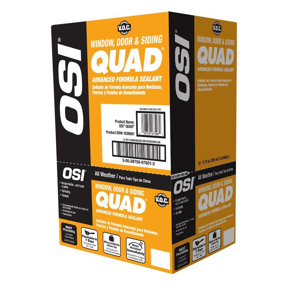 OSI 10 fl. oz. #004 White QUAD Advanced Formula Window, Door and Siding Sealant (12-Pack)