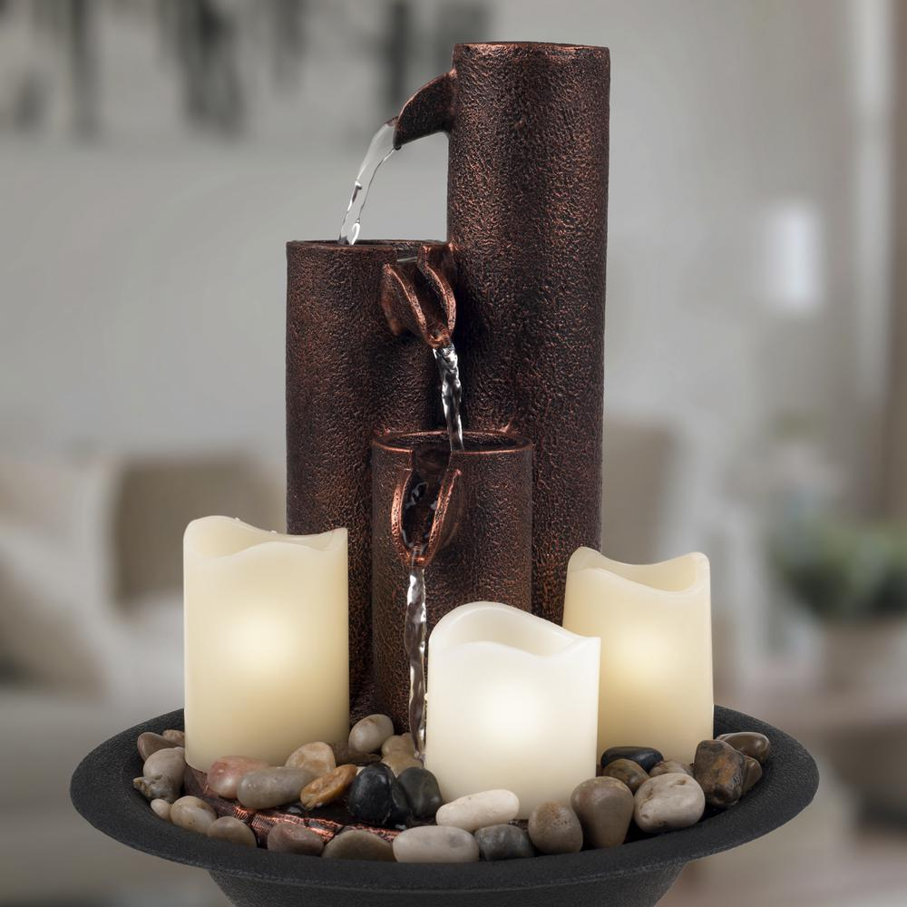 """11/"""" Tiered Column Tabletop Fountain w// 3 Candles Outdoor Backyard Decoration New"""