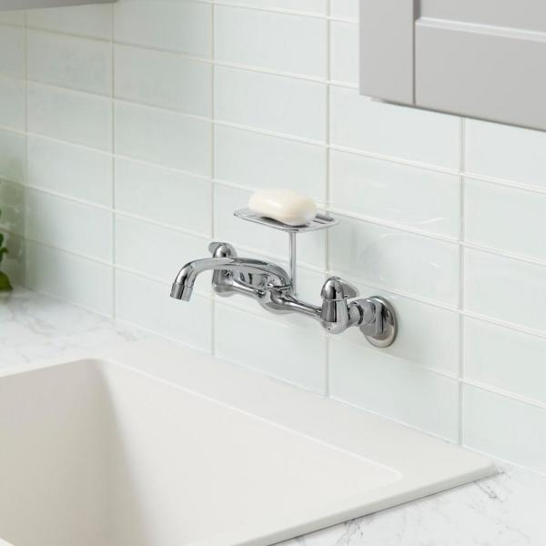 Glacier Bay 2 Handle Wall Mount Kitchen Faucet with Soap Dish in