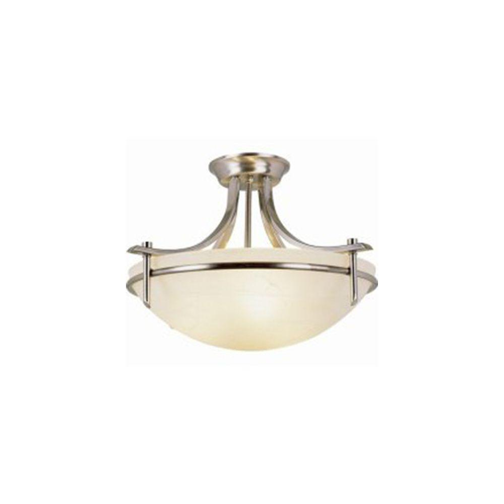 Stewart 3-Light Brushed Nickel Incandescent Ceiling Semi-Flush Mount Light