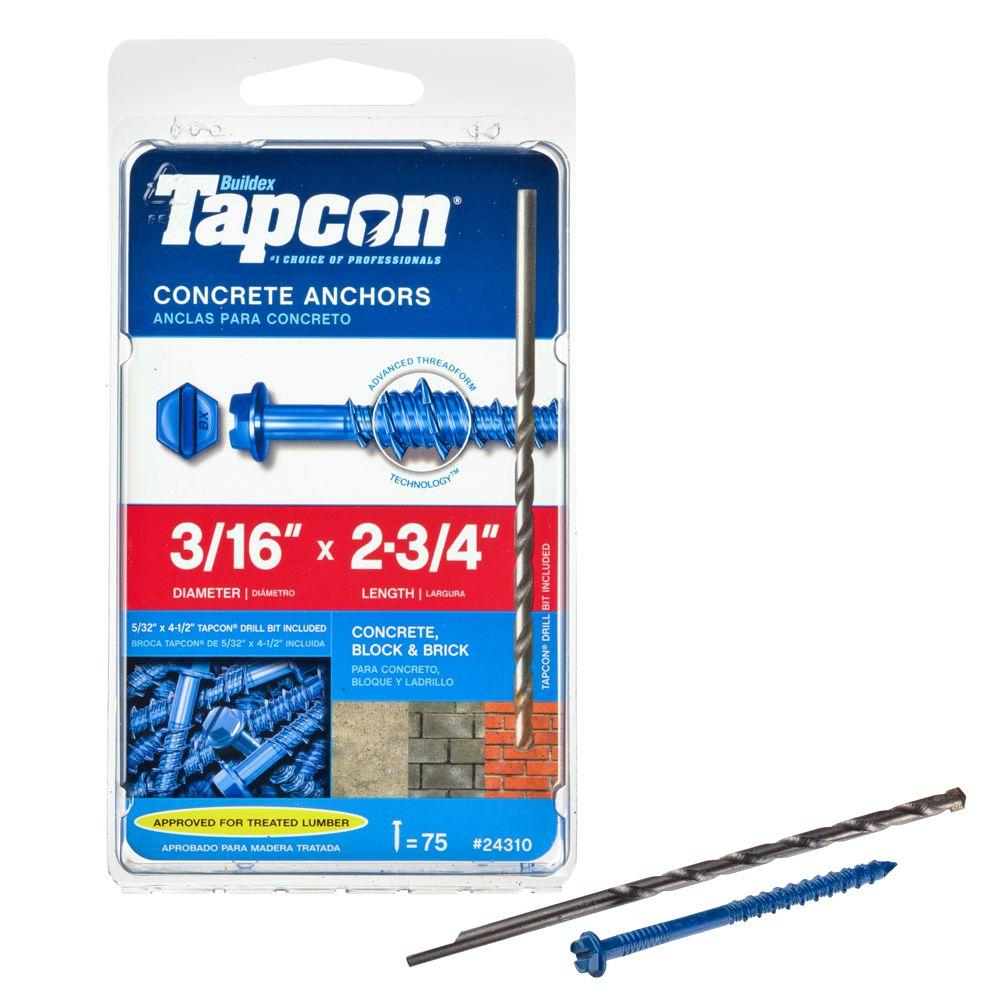"Qty 250 1//4/"" X 2-3//4/"" Concrete Masonry Screw Anchors Tapcon Hex Head"