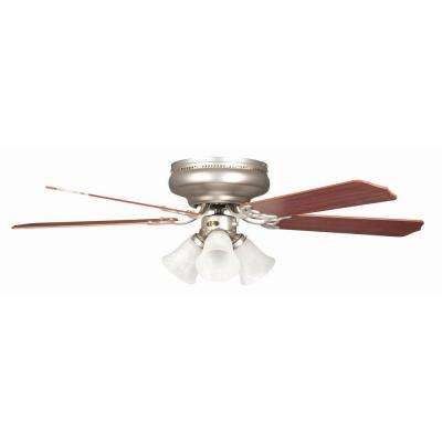 Rosemont 52 in. Satin Nickel Ceiling Fan with Light Kit and 5 Blades