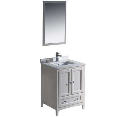 Warwick 24 in. Bathroom Vanity in Antique White with Quartz Stone Vanity Top in White with White Basin and Mirror