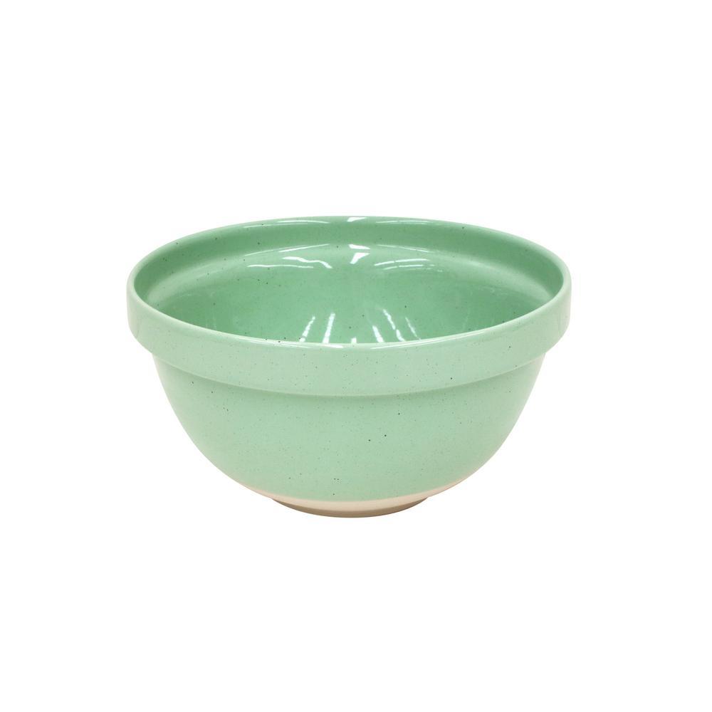Fattoria 9.25 in. 96 fl. oz. Green Ceramic Stoneware Serving Bowl