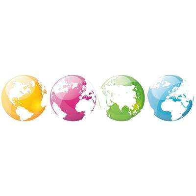 6.5 in. Multi-Colored Globes Wall Transfer Decals (4-Pack)