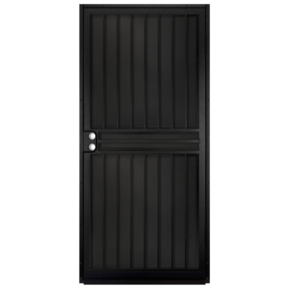 unique home designs 36 in x 80 in guardian black surface mount outswing steel security door. Black Bedroom Furniture Sets. Home Design Ideas
