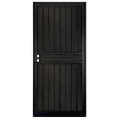 36 in. x 80 in. Guardian Black Surface Mount Outswing Steel Security Door with Black Perforated Aluminum Screen