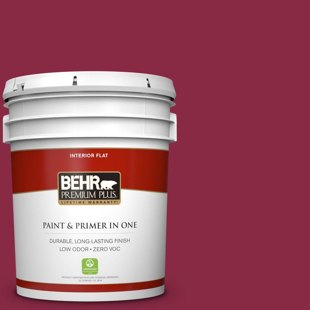 Behr Premium Plus 5 Gal 130d 7 Cranapple Flat Zero Voc Interior Paint And Primer In One 130005