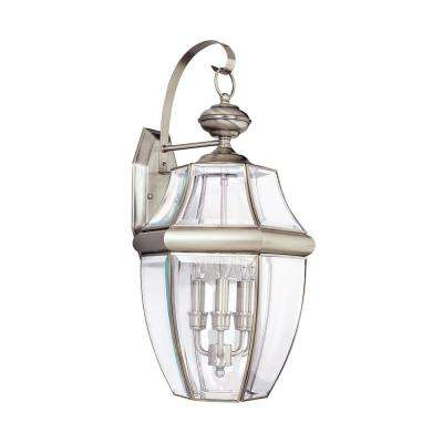 Lancaster 3-Light Antique Brushed Nickel Outdoor Wall Mount Lantern