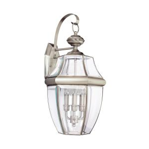 Lancaster 3-Light Antique Brushed Nickel Outdoor 23 in. Wall Lantern Sconce with Dimmable Candelabra LED Bulb