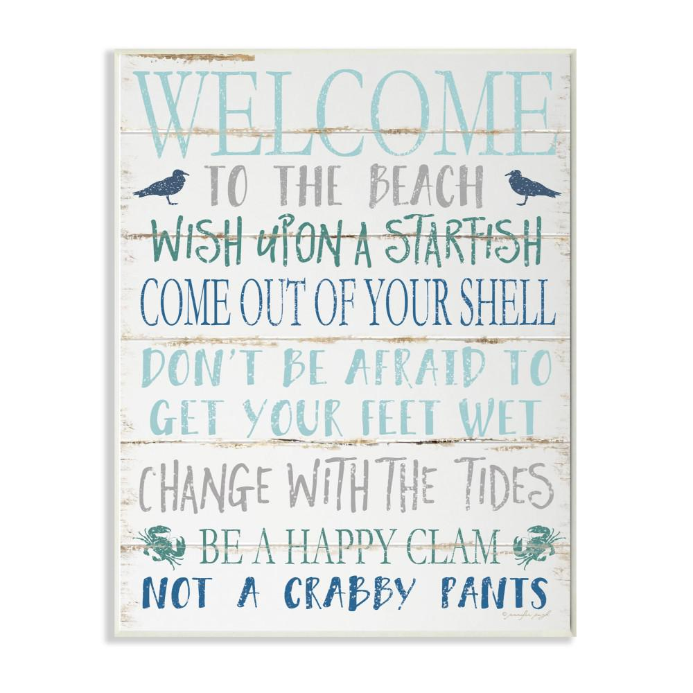 The Stupell Home Decor Collection 12 In X 18 In Welcome To The Beach Blue Aqua And White Planked Look Sign Wall Plaque Art By Jennifer Pugh Cwp 366 Wd 12x18 The Home Depot