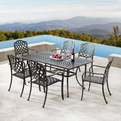 Luxurious Ornate Antique Copper 7-Piece Aluminium Rectangular Outdoor Dining Set