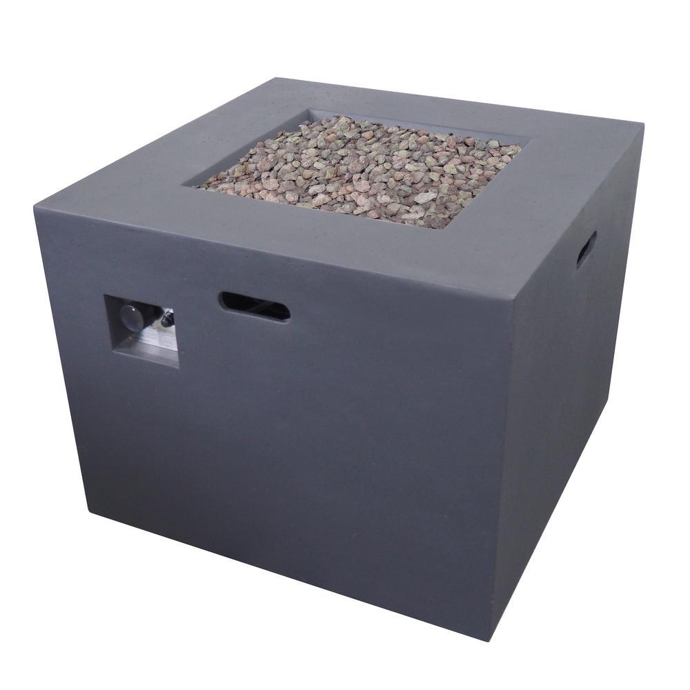 Zachary 31 in. x 24.5 in. Square Concrete Propane Fire Pit in Dark Gray