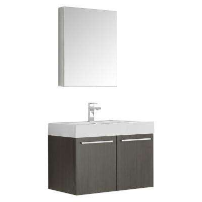 Vista 30 in. Vanity in Gray Oak with Acrylic Vanity Top in White with White Basin and Mirrored Medicine Cabinet
