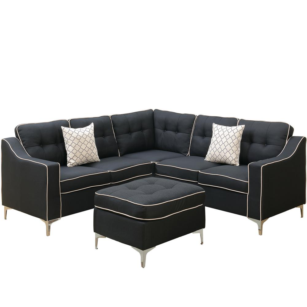 Palermo 4-Piece Black Sectional Sofa with Ottoman