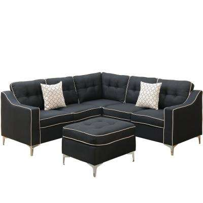 Palermo 4 Piece Black Sectional Sofa With Ottoman