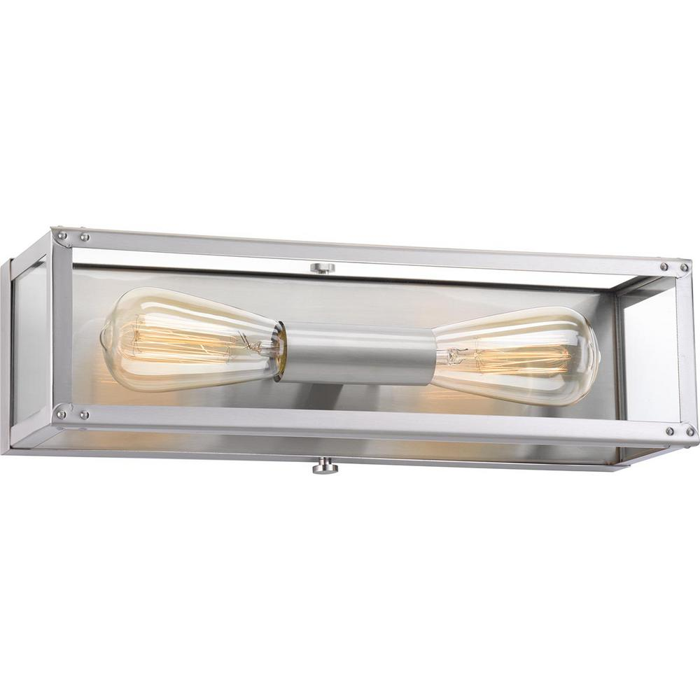 Progress Lighting Union Square Collection 2-Light Stainless Steel Bath Light