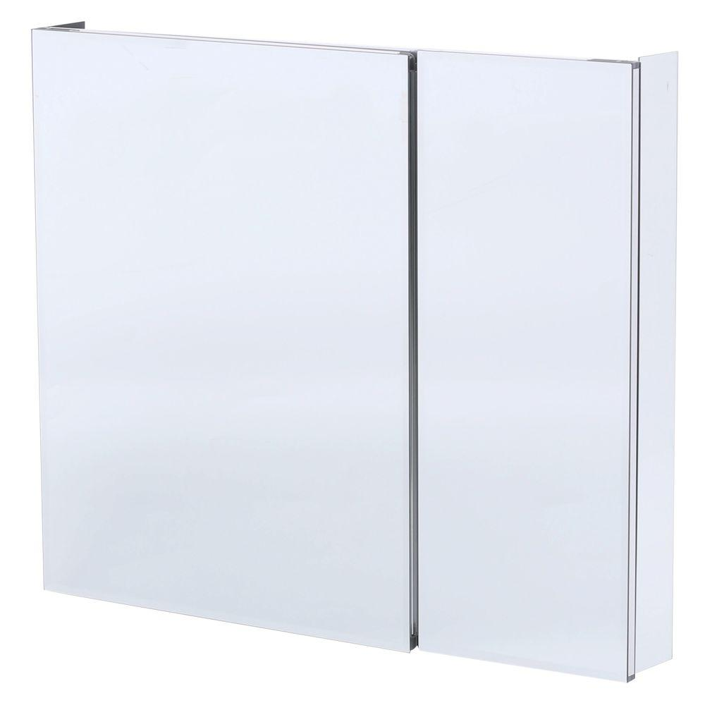 Pegasus 36 in. W x 30 in. H Frameless Recessed or Surface-Mount Bi-View Bathroom Medicine Cabinet with Beveled Mirror