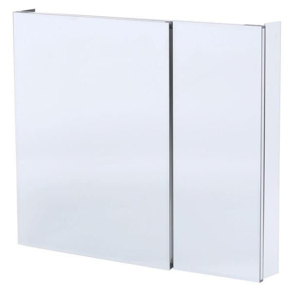 36 in. W x 30 in. H Frameless Recessed or Surface-Mount Bi-View Bathroom Medicine Cabinet with Beveled Mirror