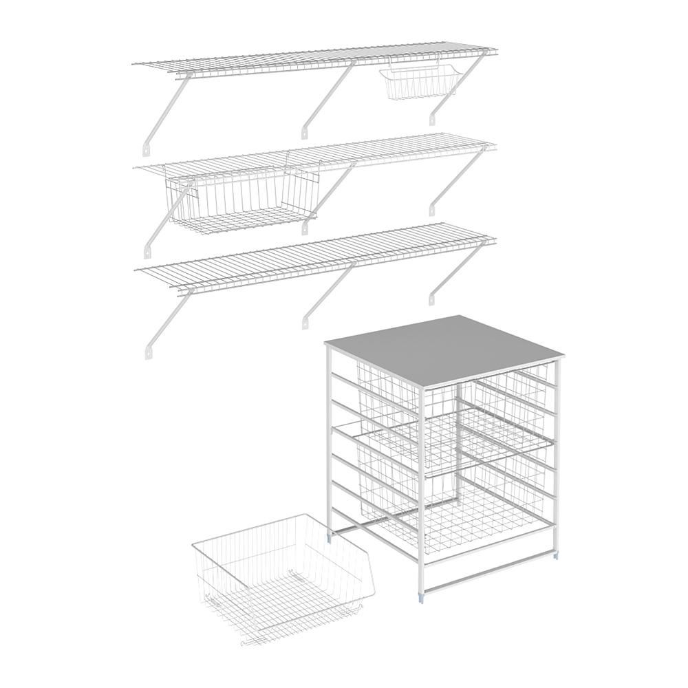 ClosetMaid 21.97 in. D x 48 in. W x 84 in. H White Wire Fixed Mount Pantry Closet Kit with Wire Drawers and Baskets