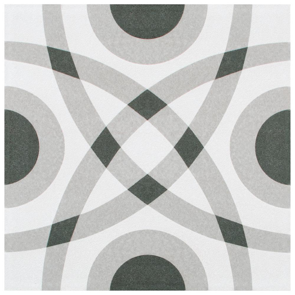Merola Tile Twenties Circle Encaustic 7-3/4 in. x 7-3/4 in. Ceramic Floor and Wall Tile