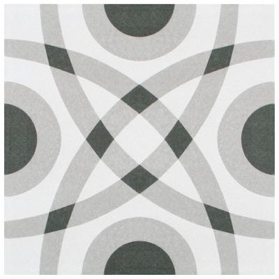 Twenties Circle 7-3/4 in. x 7-3/4 in. Ceramic F/W Tile