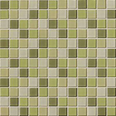 Illustrations Kiwi Blend 12 in. x 12 in. x 3 mm Glass Mesh-Mounted Mosaic Wall Tile