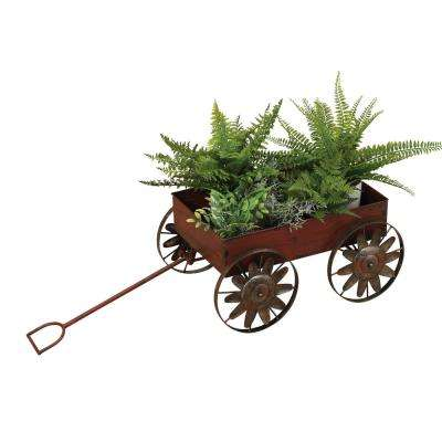 18.5 in. Red Metal Wagon Planter with Wind Spinners