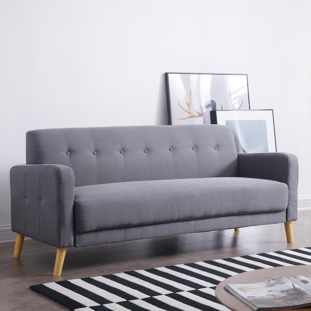 AC Pacific Jans Gray Mid-Century Modern Sofa with Stylish ...