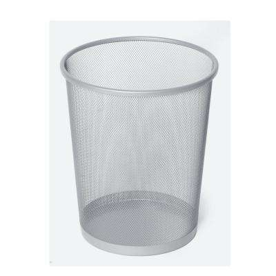 6 Gal. Silver Round Mesh Trash Can Recycling Bin (12- Pack)