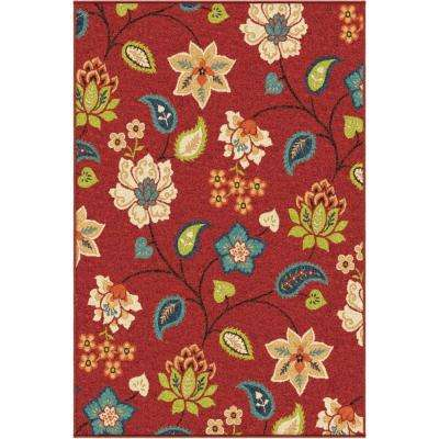 Floral Ballat Red 8 ft. x 11 ft. Indoor Area Rug