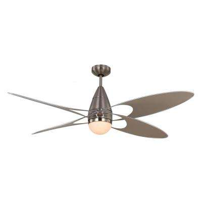 Butterfly 54 in. Indoor/Outdoor Brushed Steel Ceiling Fan with Wall Control