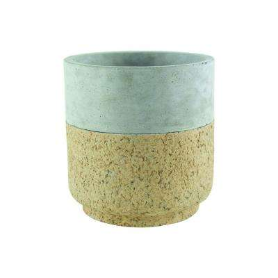 Modern Cork 5-3/4 in. Cement Cylinder Planter