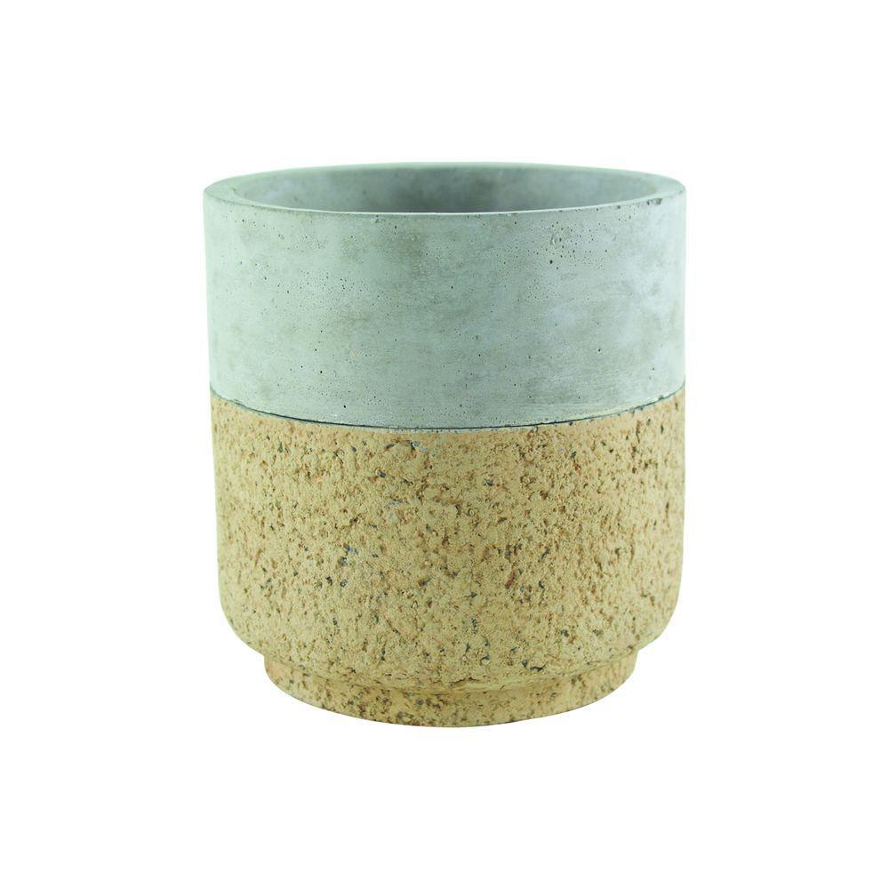Modern Cork 5-3/4 in. Cement Cylinder Planter