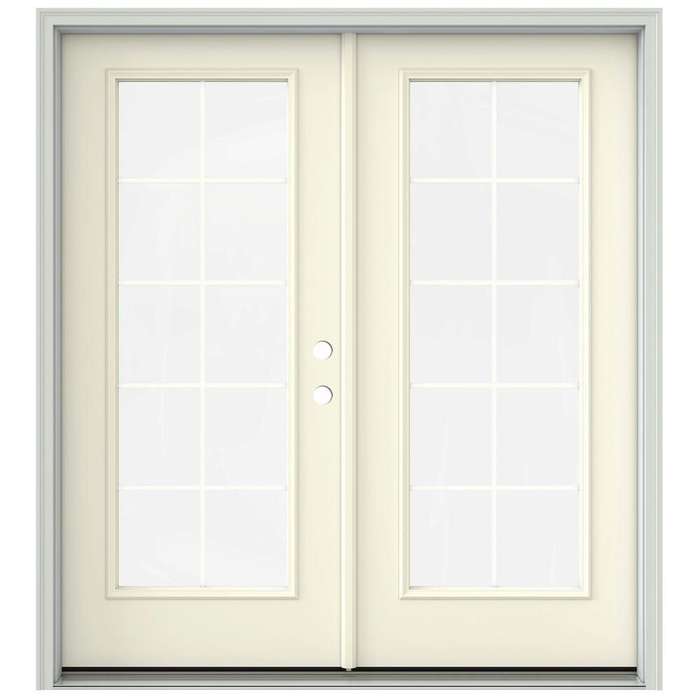French Exterior Doors Steel: JELD-WEN 72 In. X 80 In. Vanilla Painted Steel Left-Hand