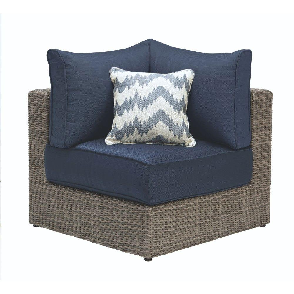 Home Decorators Collection Naples Grey All Weather Wicker Corner Outdoor Sectional Chair With Navy Cushions