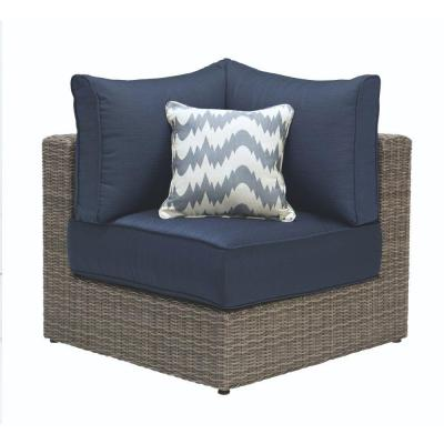 Naples Grey All-Weather Wicker Corner Outdoor Sectional Chair with Navy Cushions