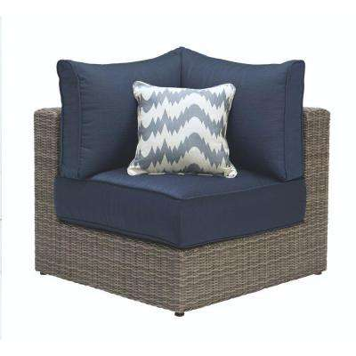 Naples Grey All-Weather Wicker Corner Outdoor Sectional Chair with Hinged Cushions in Navy
