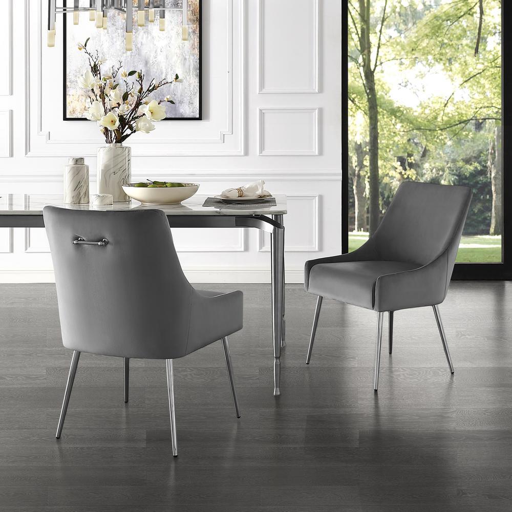 Inspired Home Capelli Light Grey/Chrome Velvet Metal Leg Armless Dining Chair (Set of 2)