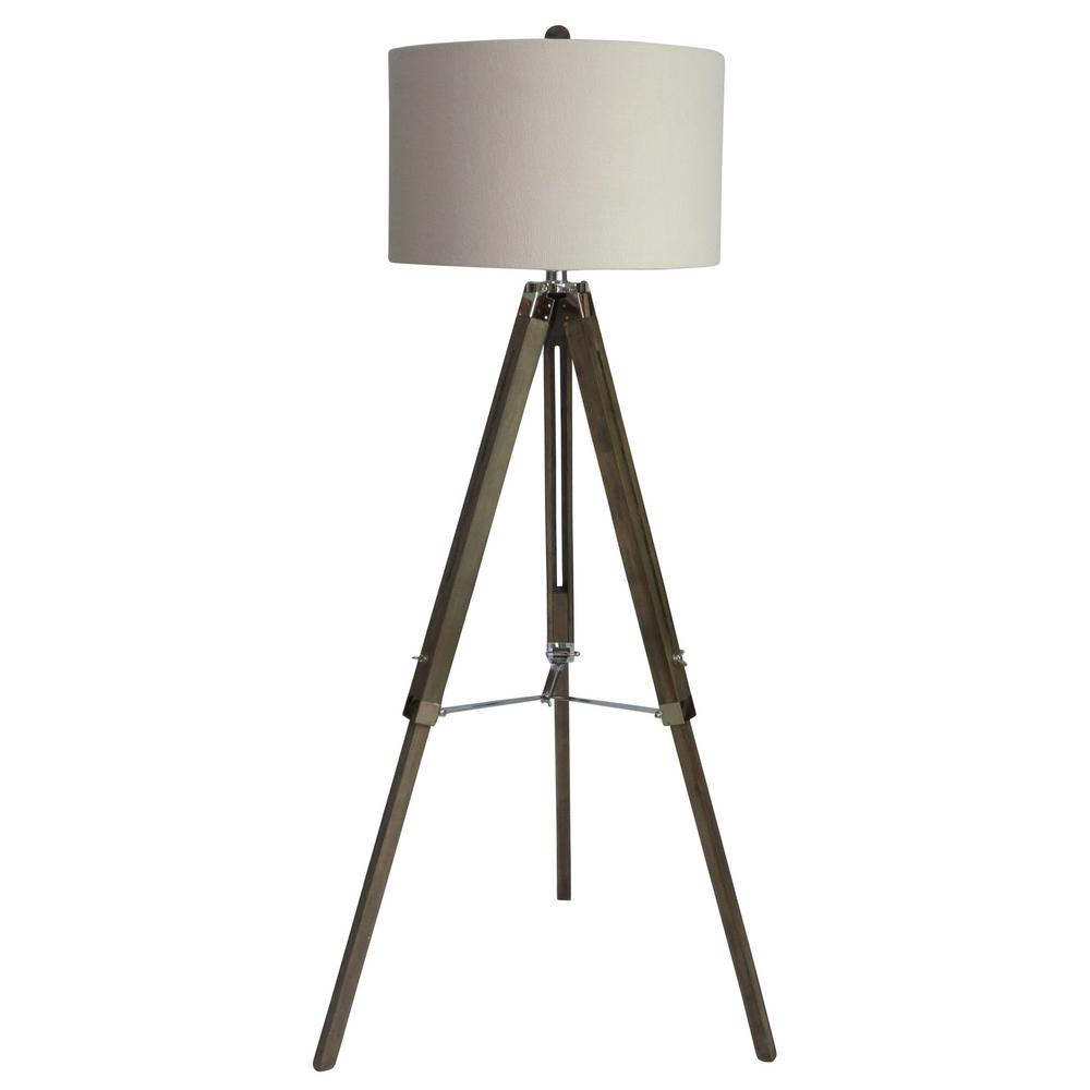 Fangio lighting 60 in classic structured tripod floor lamp in fangio lighting 60 in classic structured tripod floor lamp in weathered grey wood and polished aloadofball Gallery