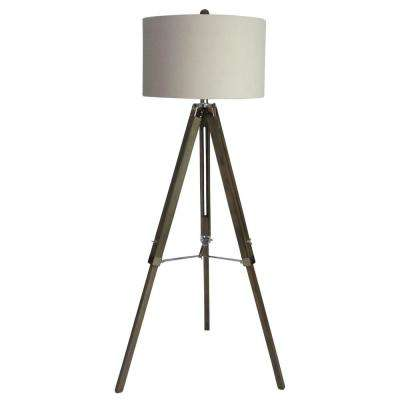 60 in. Classic Structured Tripod Floor Lamp in Weathered Grey Wood and Polished Nickel Metal