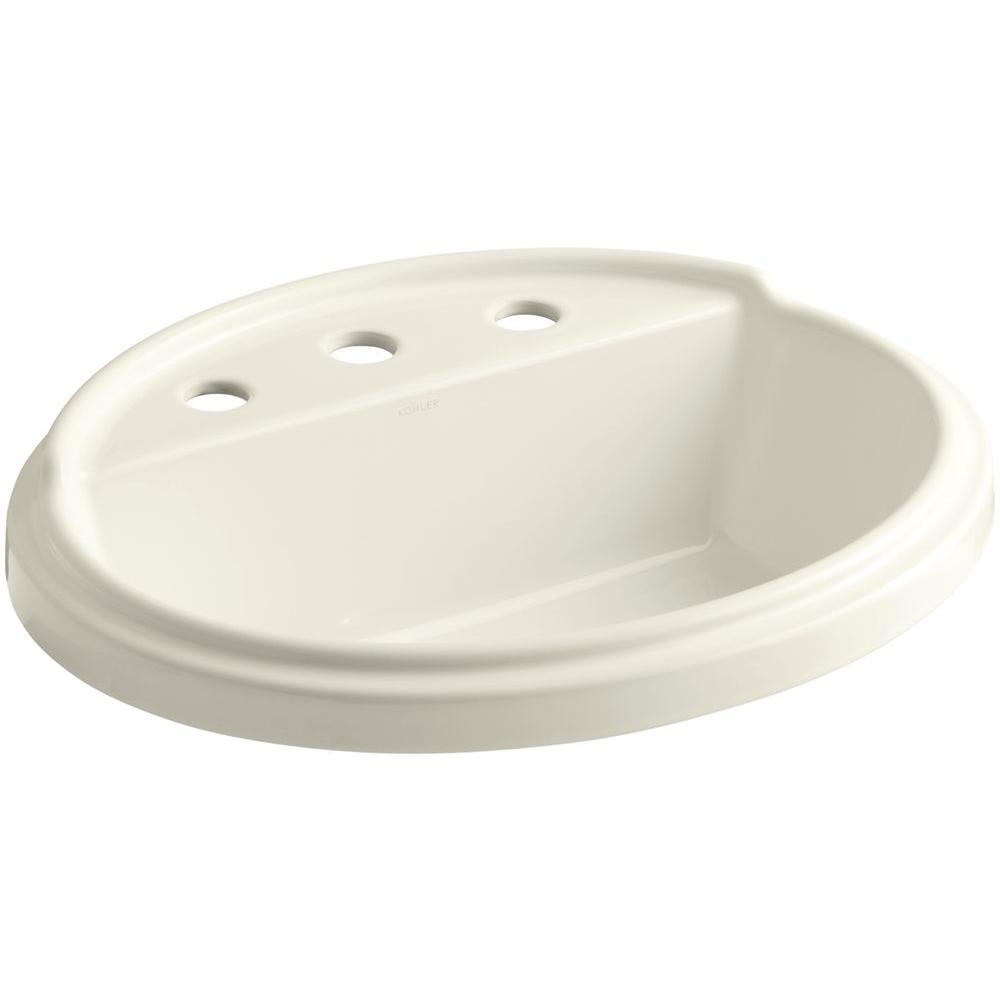 Tresham Drop-In Vitreous China Bathroom Sink in Biscuit with Overflow Drain