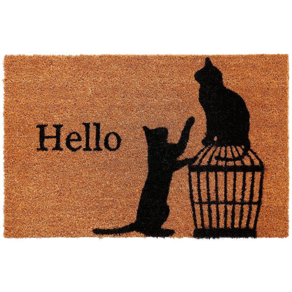 Comfy Pooch Hello Cat 18 in. x 28 in. Coir Mat
