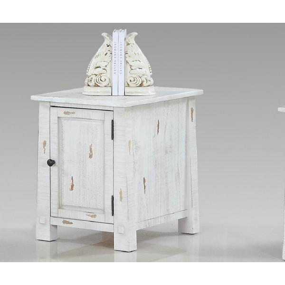 Progressive Furniture Willow Distressed White Chairside Cabinet T410-29