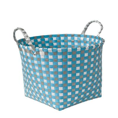 48 Gal. Grey and White PP Resin Weave Basket