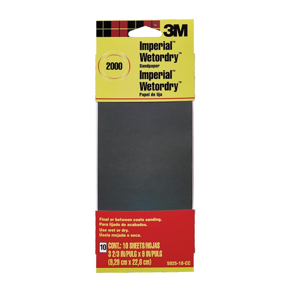 3m 3 2 3 In X 9 In 2000 Grit Sandpaper 10 Sheets Pack 5925 18 Cc